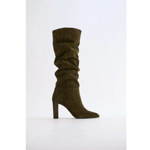 NWT Zara Green High Shaft Split Leather Boots